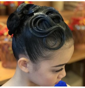 Girls children latin ballroom competition dance hair bangs stage performance headdress