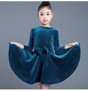 Girls children latin dance dresses blue red velvet striped school concert competition ballroom rumba samba salsa chacha dance skirt dresses