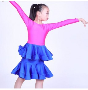 Girls children latin dance dresses long sleeves stage performance fuchsia with royal blue competition salsa chacha dance skirts costumes