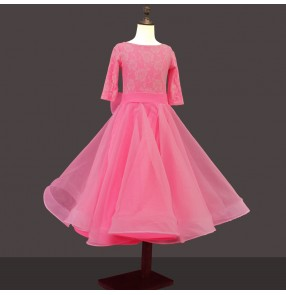 Girls children light pink ballroom dancing dresses competition waltz tango dance dresses