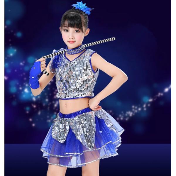 60ee57049ef1 Girls children modern jazz dance costumes cheer leaders sequin royal blue  kids chorus stage performance dresses