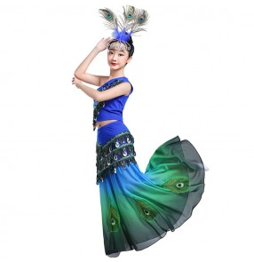 Girls children peacock dance dresses royal blue with green belly dance dresses mermaid stage performance dresses