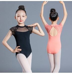 Girls children pink black ballet dance leotards tops stage performance modern latin ballroom ballet lace dance tops for kids