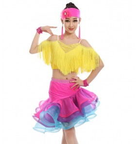Girls children rainbow colored tassels latin dance dresses stage performance rumba samba chacha dance dresses