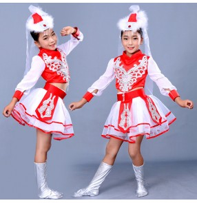 Girls children stage performance mongolian costumes school stage performance chinese folk dance costumes