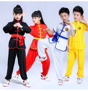 Girls children taichi wushu kungfu Taekwondo uniforms boys kids school stage performance taichi competition suits costumes
