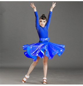 Girls children velvet competition latin dance dresses salsa rumba chacha dance dress costumes