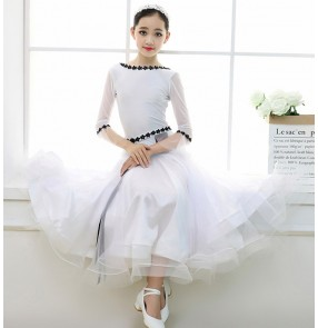 Girls children white fairy ballroom dancing dresses stage performance competition waltz tango dance dresses