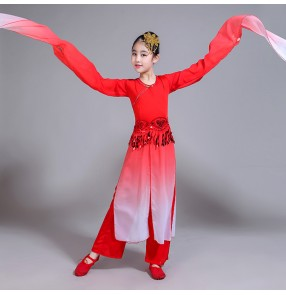 Girls china style folk dance dresses red gradient colored water fall sleeves ancient classical fairy dynasty photos cosplay dancing costumes