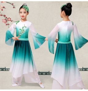 Girls chinese ancient folk dance dress for kids blue gradient colored fan umbrella china traditional classical dance costumes