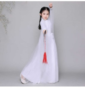Girls chinese Antiquity Hanfu fairy dresses princess film cosplay dresses Children's Elegant Super Fairy Princess Guzheng Performance Hanfu