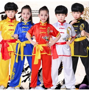 Girls Chinese dragon kungfu uniforms boys kids children martial school stage performance taichi costumes