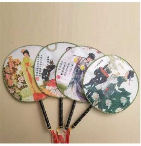 Girls chinese folk dance ancient traditional retro palace court fans drama round fans kids children stage performance kimono dress cosplay fans