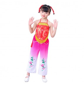 Girls chinese folk dance costumes ancient traditional dance yangko stage performance new year celebration cosplay apron clothes