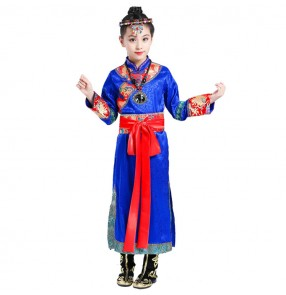 Girls Chinese folk dance costumes ancient traditional Mongolian dance stage performance drama cosplay dress robes