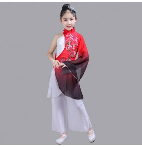 Girls chinese folk dance costumes Children China ancient traditional yangko fan dance fairy red gradient color dance studio cosplay dresses
