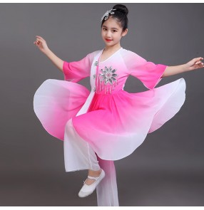 Girls Chinese folk dance costumes children kids pink green blue colored fairy drama traditional yangko classical fan dancing clothes dresses