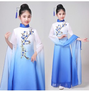 Girls chinese folk dance costumes classical dance dress white with blue ancient traditional hanfu drama cosplay anime water sleeves fairy cosplay dresses