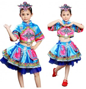 Girls Chinese folk dance costumes for child miao hmong  ethnic minority photos stage performance cosplay dancing dresses