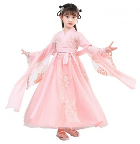 Girls Chinese folk dance costumes hanfu  Fairy cherry drama cosplay princess dress Chinese style children's Tang suit New Year dress skirt