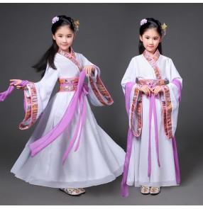 Girls chinese folk dance costumes Hanfu fairy cosplay kimono dresses ancient traditional stage performance empress princess dresses