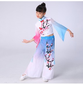 Girls Chinese folk dance costumes kids children ancient traditional classical fan umbrella fan dance dresses costumes