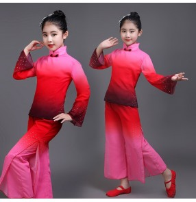 Girls chinese folk dance costumes kids children red gradient colored ancient yangko fan classical fairy cosplay costumes