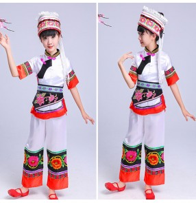 Girls chinese folk dance costumes kids children YI dali Bai minority stage performance costumes dresses