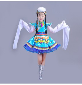Girls chinese folk dance costumes kids tibet Mongolian dance costumes water sleeves robes dresses with headdress