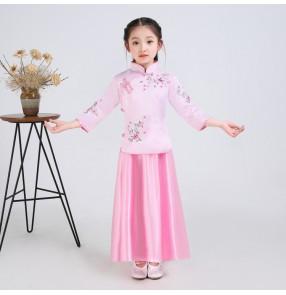Girls Chinese folk dance costumes Ming dresses kids children drama cosplay princess dresses