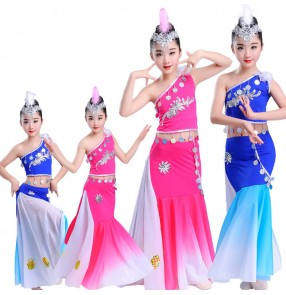 Girls Chinese folk dance costumes modern dance mermaid belly peacock dance dresses for school stage performance