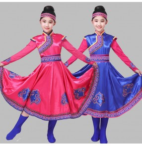 Girls chinese folk dance costumes Mongolian costumes stage performance drama cospaly mongolia robes
