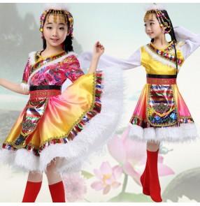 Girls chinese folk dance costumes tibet Mongolian minority dance dresses stage performance cosplay robes with headdress