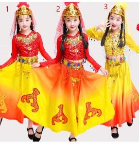 Girls chinese folk dance costumes xinjiang minority Uighur dance dresses