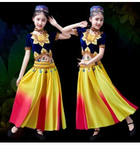 Girls Chinese folk dance costumes Xinjiang Uighur minority dance costumes Indian belly dance costumes dresses
