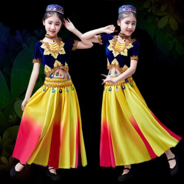1484dc342 Girls Chinese folk dance costumes Xinjiang Uighur minority dance costumes  Indian belly dance costumes dresses
