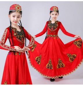 Girls Chinese folk dance dress xinjiang Uygur minority Belly stage performance dance costumes with hat