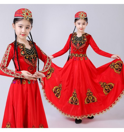 f8f9c650f697 Girls Chinese folk dance dress xinjiang Uygur minority Belly stage  performance dance costumes with hat