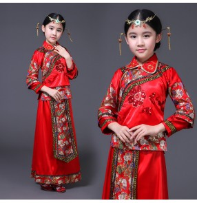 Girls Chinese folk dance dresses ancient traditional china wedding party flower girls children performance photography cosplay robes dress