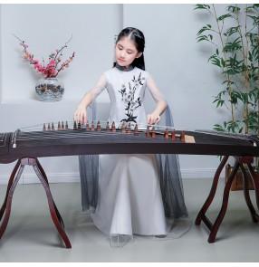 Girls chinese folk dance dresses fairy hanfu dress Guzheng performance Costumes model show photos shooting singers flute erhu performance dresses for kids