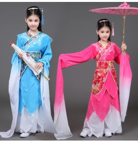 Girls chinese folk dance dresses for kids children waterfall sleeves pink blue ancient traditional classical fairy dancing dynasty princess drama cosplay costumes