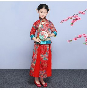 Girls Chinese folk dance dresses red colored show china style photography wedding party stage performance costumes