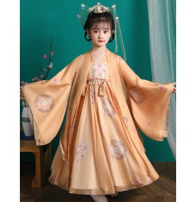 Girls Chinese Hanfu Fairy dresses children's tang dynasty empress costume long-sleeved princess Tang suit Guzheng performance costume