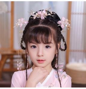 Girls chinese hanfu hair accessories fairy princess drama film cosplay kimono dresses stage performance headdress hair clip for kids