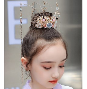 Girls chinese Hanfu headdress head crown children's phoenix crown girls hair accessories fairy costume hair tassel performance crown