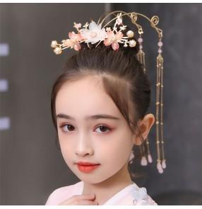 Girls chinese hanfu headdress stage performance princess fairy drama kimono dress hair crown cosplay hair accessories