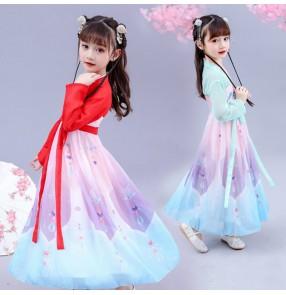 Girls chinese hanfu kids video movies folk dance fairy princess drama cosplay dress