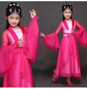 Girls chinese hanfu princess dress pink colored fairy ancient traditional drama photography dresses robes