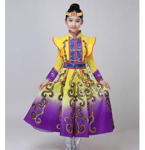 Girls chinese Mongolian dresses stage performance chinese folk mongolia robes film drama cosplay mongolia costumes for kids