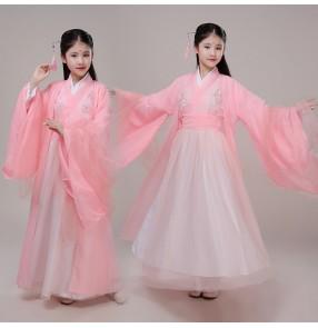 Girls chinese traditional hanfu kids ancient princess dress fairy dresses chinese folk dance costumes